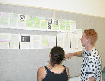 Photograph: community college students collaborate on mapping a scroll in a reading and study skills class